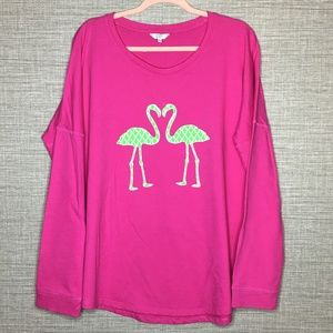 Crown & Ivy Sz XL Green Flamingo Pink Sweatshirt